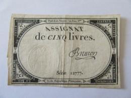 France - Assignat De 5 Livres - Série 12777 - Signature Bruron - Vers 1792 - Assignats