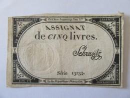 France - Assignat De 5 Livres - Série 13233 - Signature Schrantz - Vers 1792 - Assignats