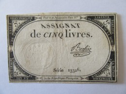 France - Assignat De 5 Livres - Série 13326 - Signature Berlioz - Vers 1792 - Assignats & Mandats Territoriaux