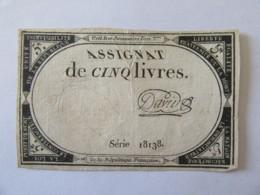 France - Assignat De 5 Livres - Série 18138 - Signature David - Vers 1792 - Assignats