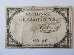 France - Assignat De 5 Livres - Série 22451 - Signature Guinand - Vers 1792 - Assignats & Mandats Territoriaux