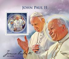 SIERRA LEONE 2019 - John Paul II, Mother Teresa S/S. Official Issue. - Mother Teresa