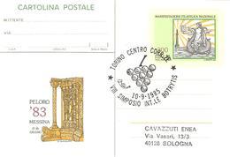 ITALIA - 1985 TORINO VIII Simposio BOTRYTIS Muffa Del Vino - Grappolo D'uva Su Cartolina Postale CP Messina '83 - Vini E Alcolici