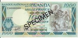 RWANDA 1000 FRANCS 1981 UNC P 17 SPECIMEN - Rwanda