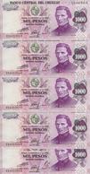 URUGUAY 1000 PESOS ND1974 UNC P 52 ( 5 Billets ) - Uruguay