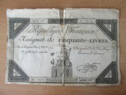 France - Assignat De Cinquante Livres - Série 2387, N°1636 - Signature Pradier - Vers 1792 - EN L'Etat - Assignats