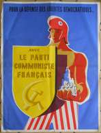 Affiche 1958 Politique Propagande PCF Illustration Simonot Pour La Défense Des Libertés Démocratiques  80x60cm - Posters