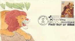 Sc#3867 Disney 37c Mufasa & Simba Lion King Issue FDC Illustrated Cover 2004 SMB Cachet - Disney