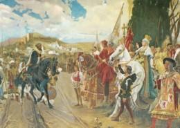 'La Rendicion De Granada' Surrender Of Granada Pradill Ortiz Painting On C1970s Vintage Postcard - History