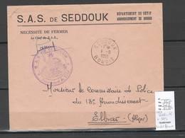 Algerie - Lettre - Cachet FM SEDDOUK SAS + Cad  -  Marcophilie - Algérie (1924-1962)