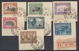 """émission 1915 - N°142, 143, 144, 145, 146, 147 Et 149 Sur Fragment Obl """"Ste-Adresse - Belgien Post"""" (1915) Dont Le Frank - 1915-1920 Albert I"""