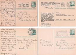 Schweiz 4  Ganzsachen Karten Mit  Verschieden Ortsstempeln - Postwaardestukken