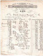 """Facture 1873  """" Jph BARBAROUX & Fils """" Bourrelerie 8 Rue Des Cordelliers à AIX En PROVENCE - 1800 – 1899"""