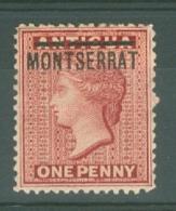 Montserrat: 1884/85   QV 'Montserrat' OVPT  SG8   1d  Red   MH - Montserrat