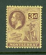 Montserrat: 1916/22   KGV   SG53   3d   Purple/yellow   MH - Montserrat