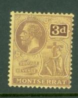 Montserrat: 1916/22   KGV   SG53a   3d   [on Pale Yellow]   MH - Montserrat