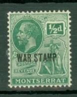 Montserrat: 1917/18   KGV 'War Tax' OVPT   SG61   ½d  [black Overprint]  MH - Montserrat