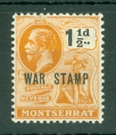 Montserrat: 1919   KGV 'War Tax' OVPT   SG62   1½d    MH - Montserrat