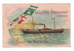 CARTOLINA CARTE POSTALE  LA LIGURE BRASILIANA SOCIETA' DI NAVIGAZIONE GENOVA - Pubblicitari