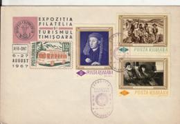 TOURISM PHILATELIC EXHIBITION, BUSS, PAINTING STAMPS, SPECIAL COVER, 1967, ROMANIA - 1948-.... Républiques