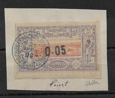 COTE DES SOMALIS - YVERT N° 23 OBLITERE SUR FRAGMENT - SIGNE SCHELLER - COTE = 60++ EUR. - Used Stamps