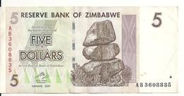 ZIMBABWE 5 DOLLARS 2007 VF P 66 - Zimbabwe