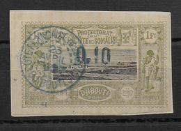 COTE DES SOMALIS - YVERT N° 24 OBLITERE SUR FRAGMENT - SIGNE SCHELLER - COTE = 100 EUR. - Used Stamps