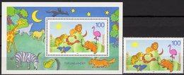 Tiere BUND 1825+Block 34 ** 5€ Für Uns Kinder Löwe Schlange 1995 Hojita Fauna Bloc Children Ss Sheet Bf BRD Germany - Ongebruikt