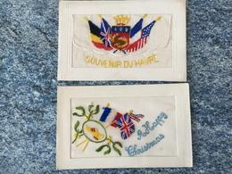 Carte Postale Brodée  2 Cartes  /1pochette Souvenir Du Havre/ Happy Christmas Drapeaux Sabot Voir Photos - Brodées