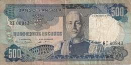 ANGOLA 500 ESCUDOS 1972 VG+ P 102 - Angola