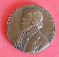 Médaille Le Verrier Fondateur De La Météorologie Moderne D'après Alphée Dubois 1884 Bronze Diam 5.4cm 80gr - France