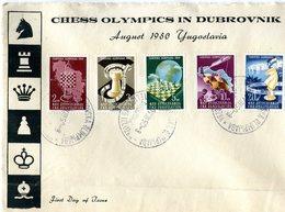 YUGOSLAVIA 1950 FDC CHESS OLYMPICS IN DUBROVNIK (RARE)BARGAIN.!! - Schaken