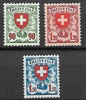 Schweiz Suisse 1940:Wappen (Kreide-Papier Crayeux) Zu 163y-165y Mi 194y-196y Yv 208-210 ** MNH (Zumstein CHF 170.00) - Ungebraucht