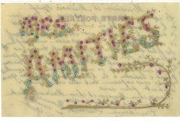Carte Artisanale En Celluloïd Peinte Main Et Pailletée - Mes Amitiés    (112236) - Fancy Cards