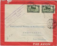 MAROC Poste Aérienne  5 (o) Lettre Cover Par Avion Casablanca Pondichéry 1927 Affranchissement Insuffisant - Morocco (1891-1956)