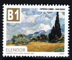 Regno Di Elendor - Francobollo (cinderella) - B1 - Cipressi (Van Gogh) - Anno 2018 - Etichette Di Fantasia