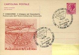 44158  Italia, Special Postmark San Giuliano 1974  On Circuled Special Card   Showing Leonardo Da Vinci  Helicopter - Arte