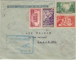 MARTINIQUE 136 160 161 165 (o) Lettre Par Avion Fort-de-France Paris 1er Service Aérien 20 Septembre 1937 - Martinique (1886-1947)