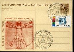 44159  Italia, Special Postmark San Giuliano 1974  On Circuled Special Card   Showing Leonardo Da Vinci Dimension Of Man - Arte