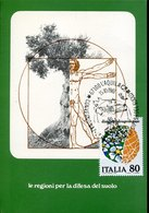 44161  Italia, Special Postmark  L'aquila 1981   Showing Leonardo Da Vinci Dimension Of Man - Arte