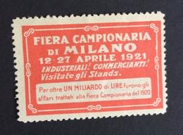 FIERA CAMPIONARIA  DI MILANO  12 -  27 APRILE 1921   ETICHETTA PUBBLICITARIA DEL VENTENNIO  ERINNOFILO - Erinofilia