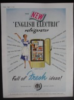 ORIGINAL 1951 MAGAZINE ADVERT FOR NEW ENGLISH ELECTRIC REFRIGERATOR - Other