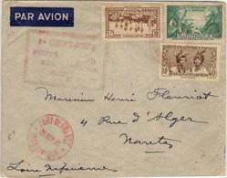 MARTINIQUE 142 146 160 (o) Lettre Par Avion Fort-de-France Nantes 1er Service Aérien 20 Septembre 1937 - Martinique (1886-1947)