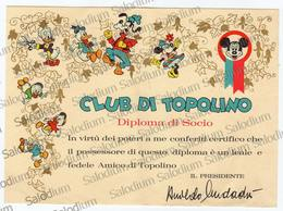 Club Di Topolino - Diploma Di Socio - Mondadori - Walt Disney - Cromo