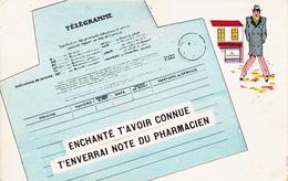 CPA Grivoise Télégramme Homme Chaude-pisse Warm Pee Maladie Vénérienne Venereal Disease Médecine 5761 Méd(2 Scans) - Postal Services
