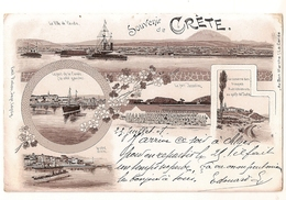 CPA GRECE CRETE SOUVENIR DE CRETE CPA PRECURSEUR 1907 RARE BELLE CARTE  !! - Greece