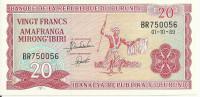 BURUNDI 20 FRANCS 1989 UNC P 27 B - Burundi