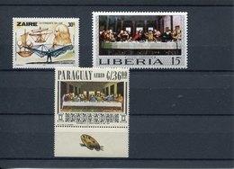 44175  Zaire,liberia,paraguay 3 Stamps  Showing Leonardo Da Vinci, Self Portrait , Helicopter, The Last Supper, MNH - Art