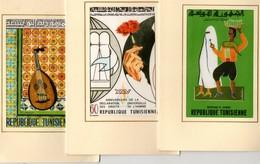 TUNISIE. 3 Cartes Doubles, Dessins Sur Tissus.  Marchand De Jasmins, Droits De L'homme, Ben Abdallah. - Tunisia