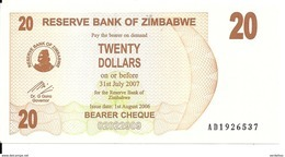 ZIMBABWE 20 DOLLARS 2006 UNC P 40  BEARER CHEQUE - Zimbabwe